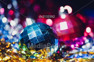 Xmas Balls Composition Stock Photo
