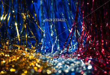 Xmas Decorations Of Different Colors As Wallpaper Stock Photo