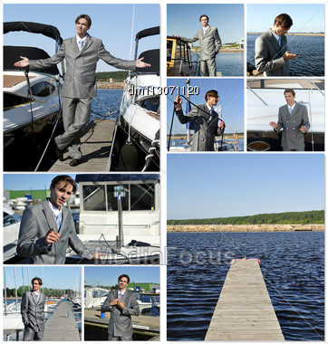 Yacht Dealer Collage. Made Of Nine Photos Stock Photo
