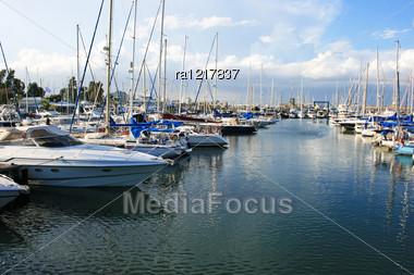 Yachts In Larnaca Port, Cyprus. Stock Photo