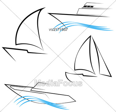 Yachts Silhouettes. Line Yachts Symbols. Yachting And Regatta Icons. Yacht Logo Templates On White Background Stock Photo