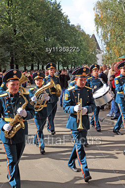 YAROSLAVL, RUSSIA - 11 SEPTEMBER: Celebration Of The Millennium YAroslavl, Russia, September 11, 2010. The Military Orchestra On Town Street. Stock Photo