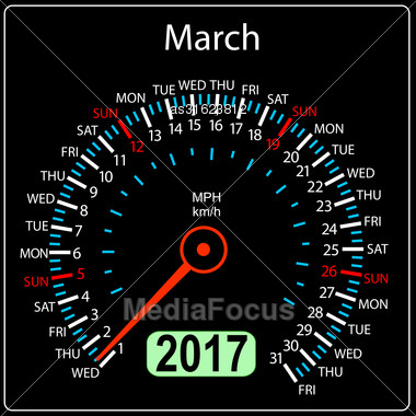 Year 2017 Calendar Speedometer Car In Vector. March Stock Photo