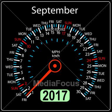 Year 2017 Calendar Speedometer Car In Vector. September Stock Photo