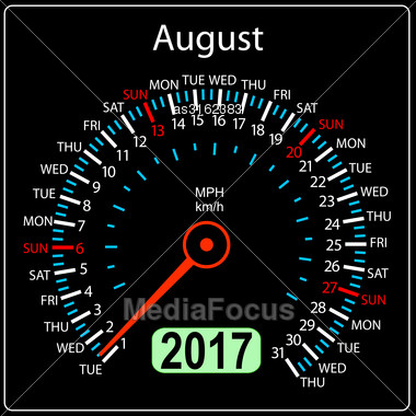 Year 2017 Calendar Speedometer Car In Vector. August Stock Photo