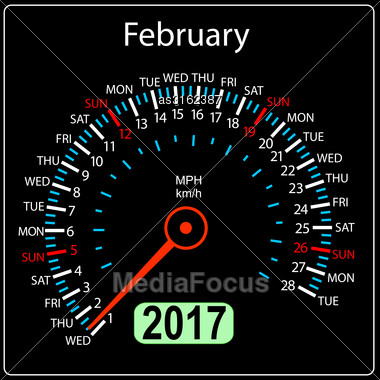Year 2017 Calendar Speedometer Car In Vector. February Stock Photo