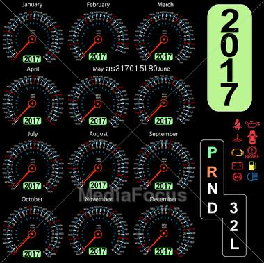 Year 2017 Calendar Speedometer Car In Vector Stock Photo