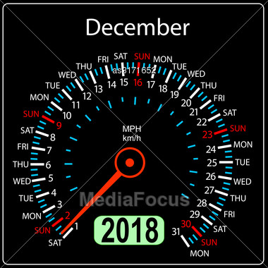 Year 2018 Calendar Speedometer Car In Concept. December Stock Photo