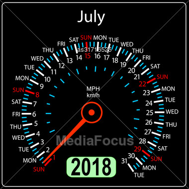Year 2018 Calendar Speedometer Car In Concept. July Stock Photo