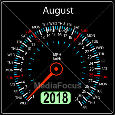Year 2018 Calendar Speedometer Car In Concept. August Stock Photo