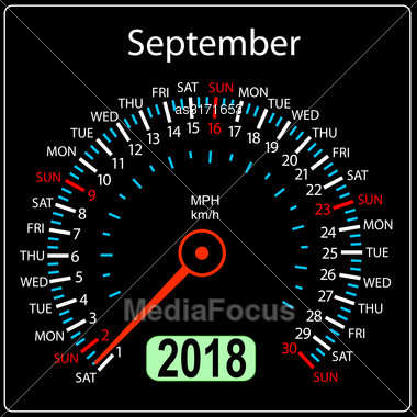 Year 2018 Calendar Speedometer Car In Concept. September Stock Photo