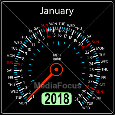 Year 2018 Calendar Speedometer Car In Concept. January Stock Photo