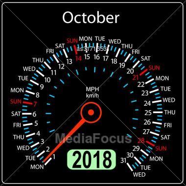 Year 2018 Calendar Speedometer Car In Concept. October Stock Photo