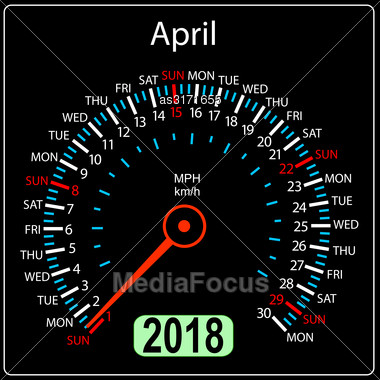 Year 2018 Calendar Speedometer Car In Concept. April Stock Photo