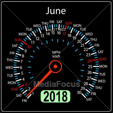 Year 2018 Calendar Speedometer Car In Concept. June Stock Photo
