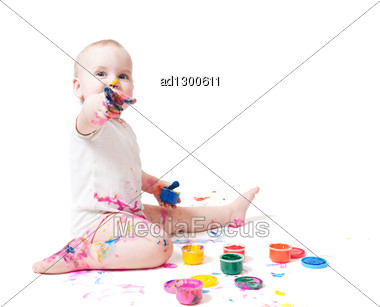 Year-old Child Playing With Paints Stock Photo