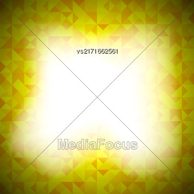 Yellow Background With Geometric Shapes, Triangles. Old Mosaic. Yellow-Mosaic-Banner. Geometric Hipster Yellow Pattern With Place For Your Text. Graphic Template Background Stock Photo