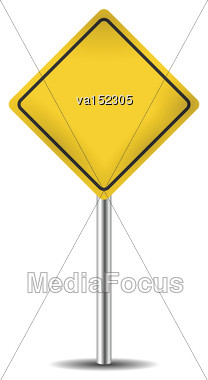 Yellow Blank Road Sign Isolated On White Vector Illustration Stock Photo