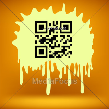 Yellow Blot With QR Code Isolated On Orange Background Stock Photo