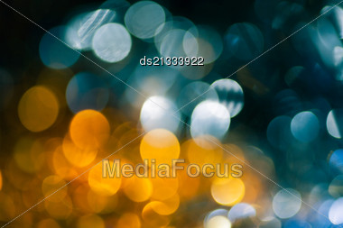 Yellow And Blue Christmas Bokeh For Pretty Background Stock Photo