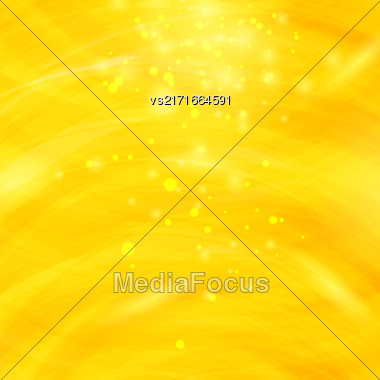 Yellow Burst Blurred Background. Sparkling Texture. Star Flash. Glitter Particles Pattern. Starry Explosion Stock Photo
