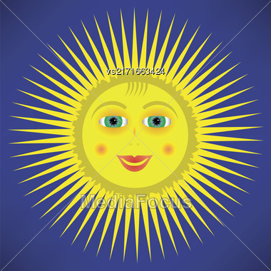 Yellow Cartoon Sun Icon Isolated On Blue Sky Background Stock Photo