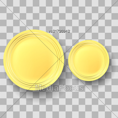 Yellow Ceramic Plate With Gold Yellow Border On Checkered Background Stock Photo