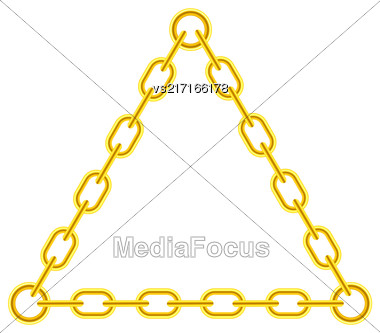 Yellow Chain Triangle Frame Isolated On White Background Stock Photo