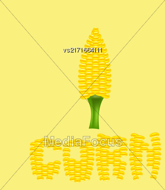 Yellow Cob Corn Isolated On Yellow Background. Corn Letters Stock Photo