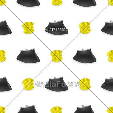 Yellow Coins Pattern. Money Wallet Seamless Background Stock Photo