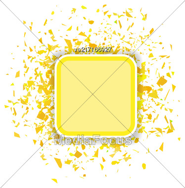 Yellow Confetti Banner Isolated On White Background. Set Of Particles Stock Photo
