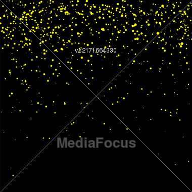 Yellow Confetti Isolated On Black Background. Abstract Yellow Parts Stock Photo