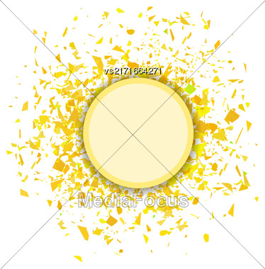 Yellow Confetti Round Banner Isolated On White Background. Set Of Particles Stock Photo