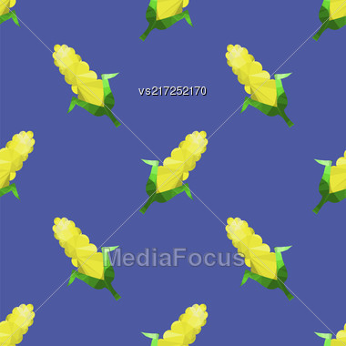 Yellow Corn Seamless Pattern Isolated On Blue Background Stock Photo