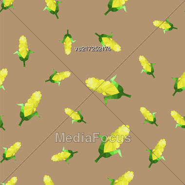 Yellow Corn Seamless Pattern Isolated On Grey Background Stock Photo