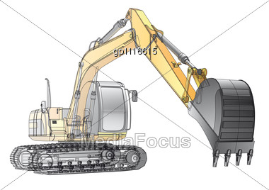 Yellow Crawler Excavator With Carcass File Contains Gradients And Transparency(isolated Layer) Not Blends And Stock Photo