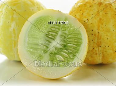 Yellow Cucumbers , Close Up Stock Photo