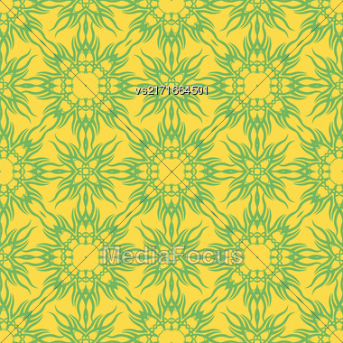 Yellow Decorative Retro Seamless Pattern. Ornamental Yellow Background Stock Photo