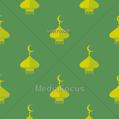 Yellow Dome Icon Seamless Pattern Isolated On Green Background Stock Photo