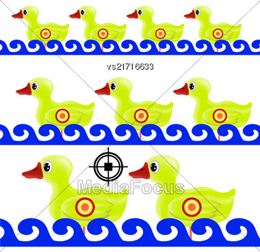 Yellow Duck Target On White Background. Duck In A Shooting Gallery Stock Photo