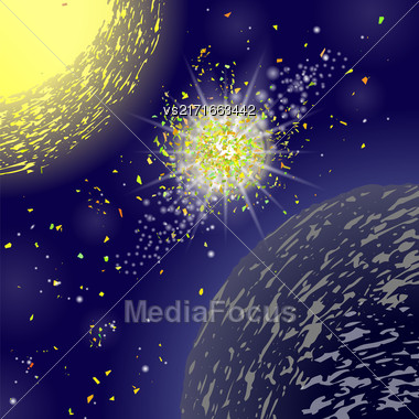 Yellow Explosion On Blue Space Background. Birth Of A New Star Stock Photo