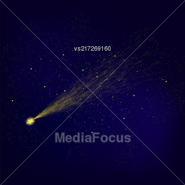 Yellow Falling Star On Blue Night Sky Background. Shooting Stars On Nignt Sky. Meteor Shower Stock Photo