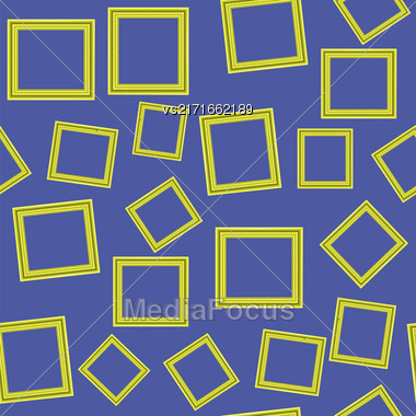 Yellow Frames Isolated On Blue Background. Seamless Pattern Stock Photo