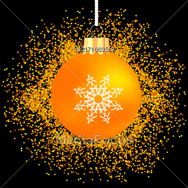 Yellow Glass Ball On Yellow Star Background. Gold Glass Ball On Dark Background Stock Photo