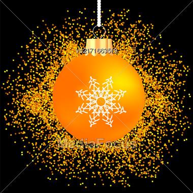 Yellow Glass Ball On Yellow Star Background. Gold Glass Ball On Dark Background Stock Photo