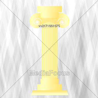 Yellow Greek Column On Grunge Grey Background Stock Photo