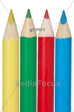 Yellow,green,red And Blue Pencil Stock Photo