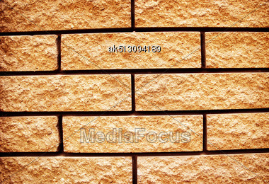 Yellow Grunge Texture Of Brick Wall Stock Photo