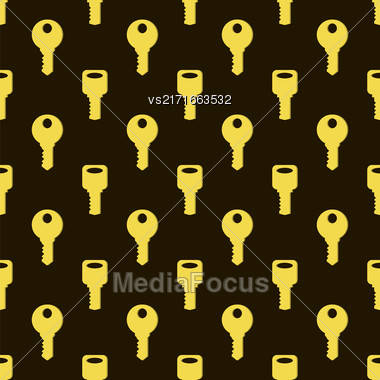Yellow Keys Isolated On Dark Background. Seamless Gold Key Pattern Stock Photo
