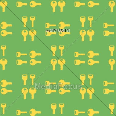 Yellow Keys Isolated On Green Background. Seamless Gold Key Pattern Stock Photo